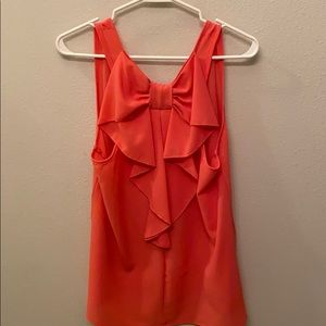 Coral Pink Bow-Back Sleeveless Blouse